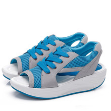 Handmade sandales sandalias plataforma new fashion wedges platform women sandals 2015 summer blue casual women shoes female
