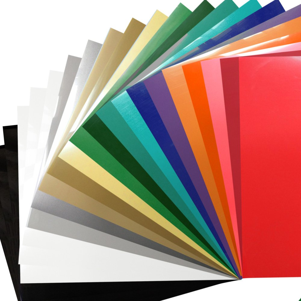 """Heat Transfer Vinyl Bundle 12""""x10""""- 22 Sheets of Assorted Color DIY T-Shirt Vinyl Transfer Sheets -Best Iron On HTV Vinyl for Silhouette Cameo, Die-Cut or Heat Press Machine"""