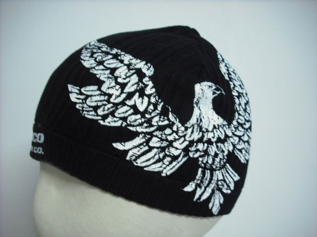 Black knitted cap with printing