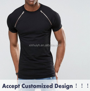 Men Stretch Cotton Muscle Fit Raglan Fashion Blank Black T Shirt Wholesale In China With Sleeve Zippers