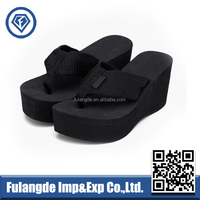 high quality and soft wide cotton fabric strap black platform high heel wedge lady eva flip flops