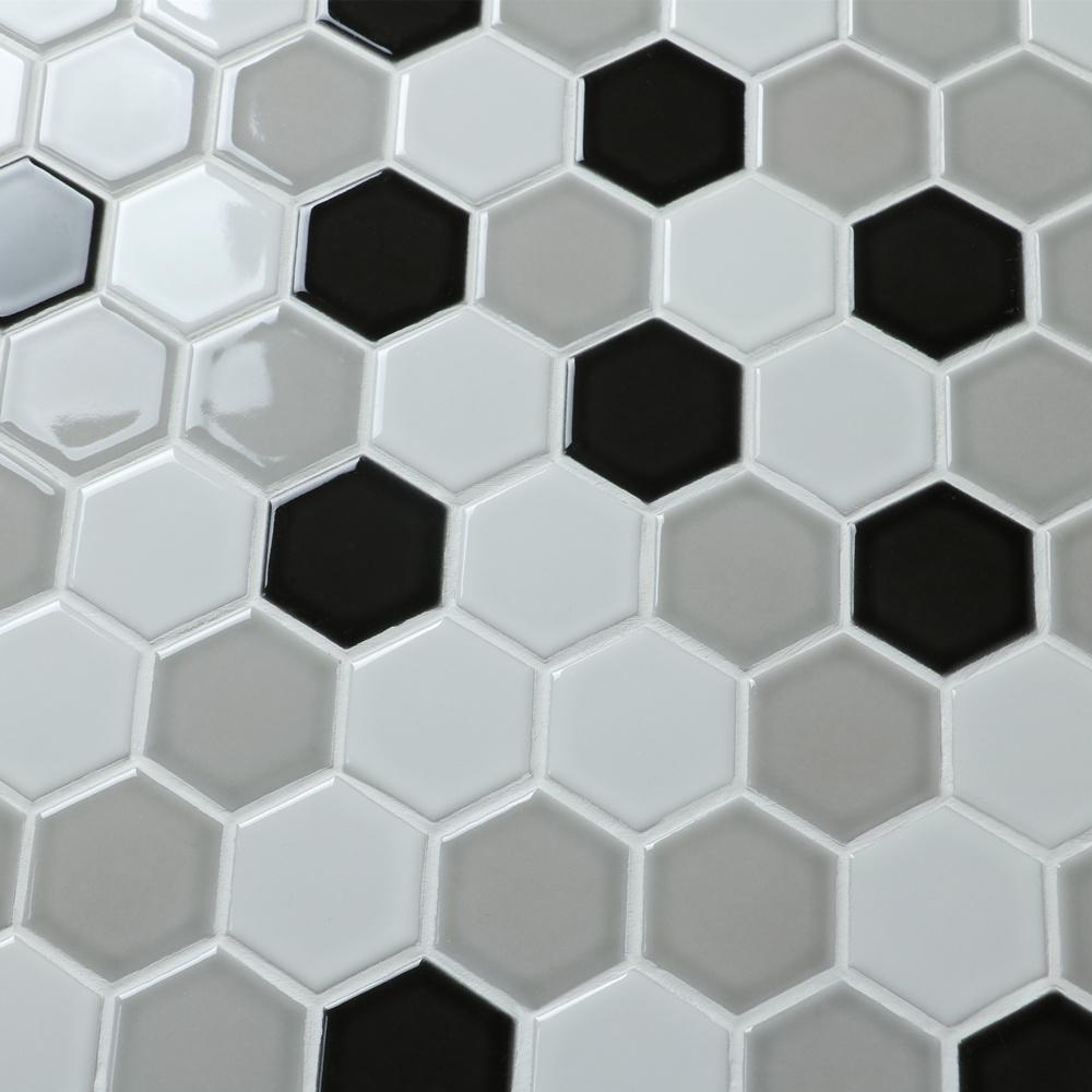 Carrelage Salle De Bain Noir Brillant mm mosaïque chine brillant blanc mélangé gris noir hexagone salle de bain  carrelage mosaïque - buy mosaïque de carreaux de salle de bain