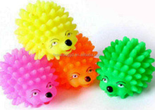 2016 dogs toys ,funny hedgehog shape silicone rubber pet chewing toys with sound, orange pet soft toys wholesale