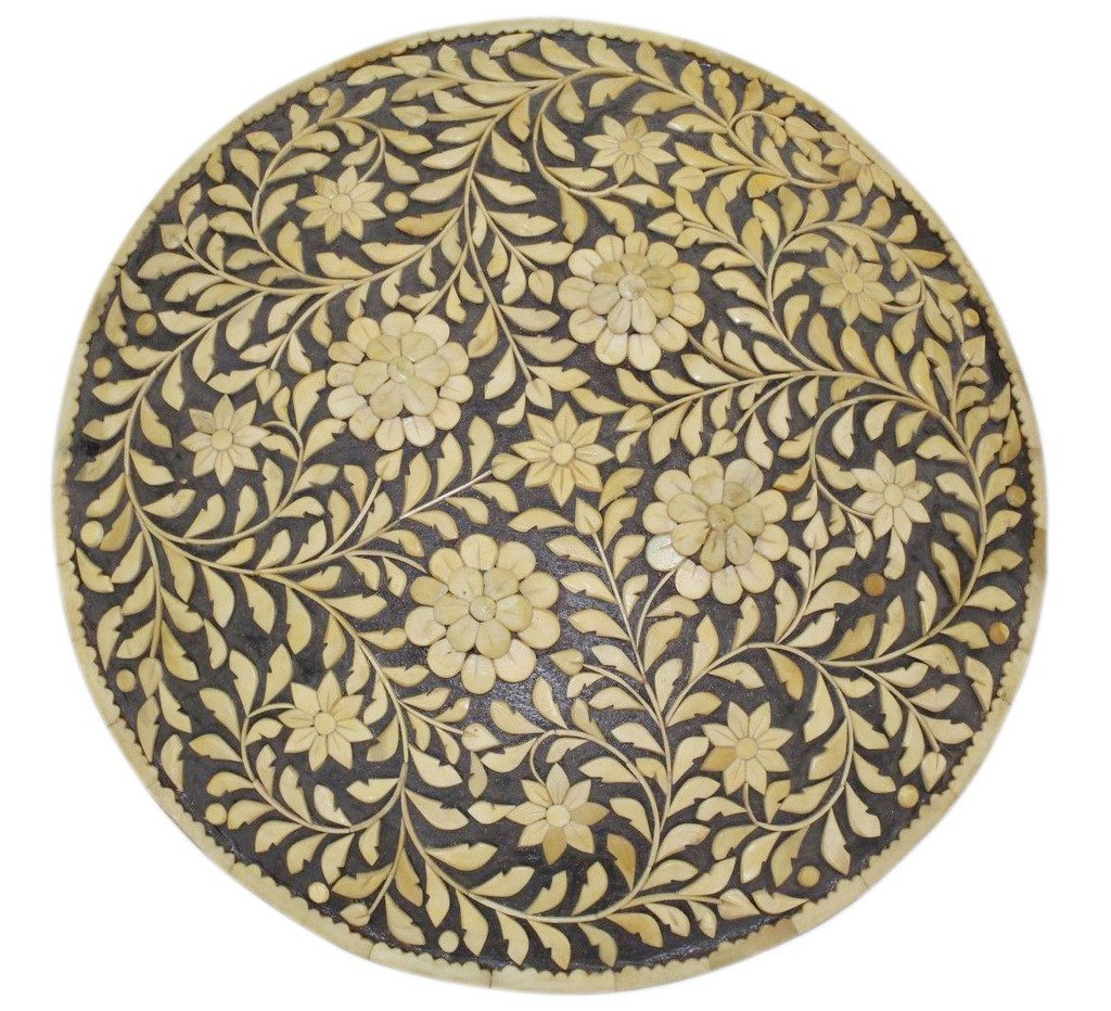 """Rajasthan Gems Indian Handmade Natural Camel Bone on Steel Battle Armory Shield Dhal 18"""" Inches"""