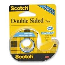 "3M Commercial Office Supply Div. Products - Double-Sided Tape, Removable, 3/4""x200"", Transparent - Sold as 1 RL - Scotch Double-Sided Tape is removable. This transparent tape is coated with removable adhesive on both sides. Sticks firmly, yet is easily removed and repositioned. Photo-safe tape is"