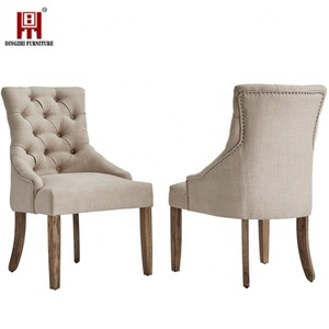 2019 modern design Upholstered Linen Fabric and Wooden with sponge seat dining Chairs