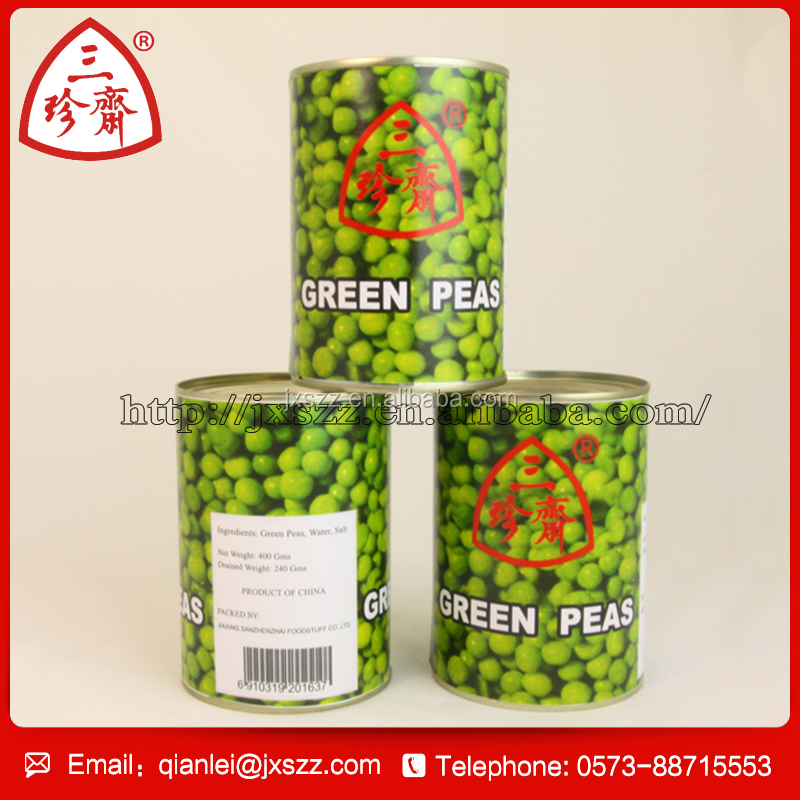 buy wholesale direct from China tin cans factory 400g canned green peas for supermarket