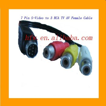 7 Pin S Video To 3 RCA TV AV Female Cable
