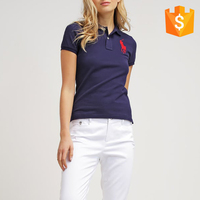 OEM polo neck short sleeve t shirt custom embroidery design from garment factory women black t thirt