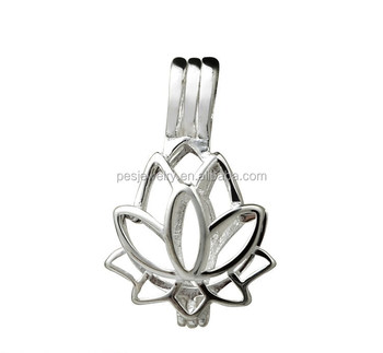 Best Selling Lotus Flower Love Wish Pearl Cage Pendant Locket