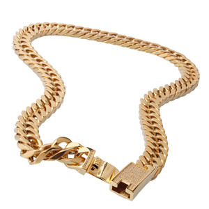 15*600mm Men Titanium Steel Double Woven Double Button Gold Chain Necklace