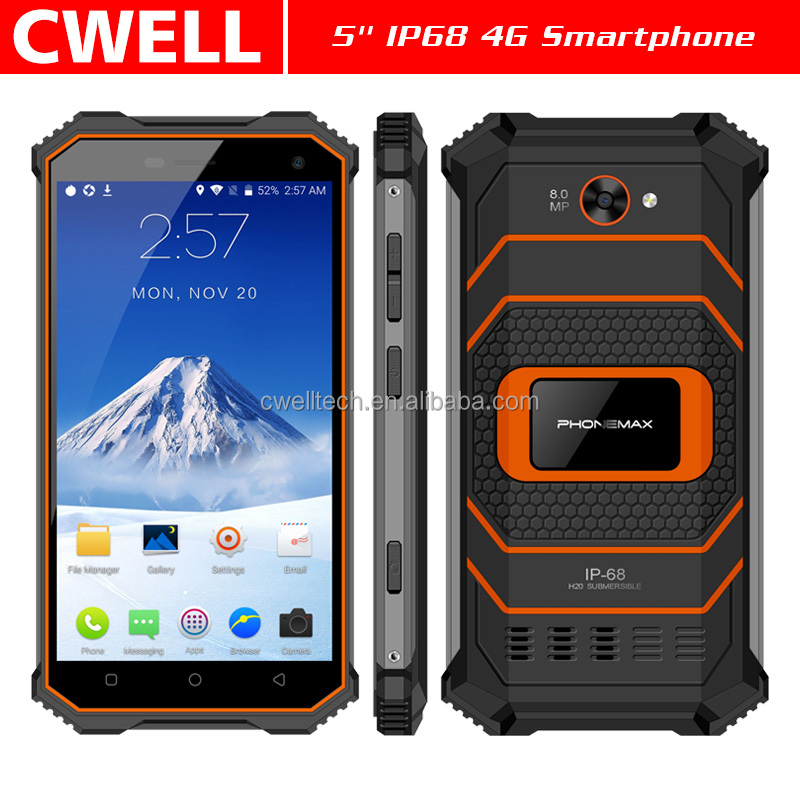 PHONEMAX ROCKY 2 Android 7.0 MTK6737 Quad core 2GB RAM 16GB ROM OTG IP68 Waterproof rugged smartphone android