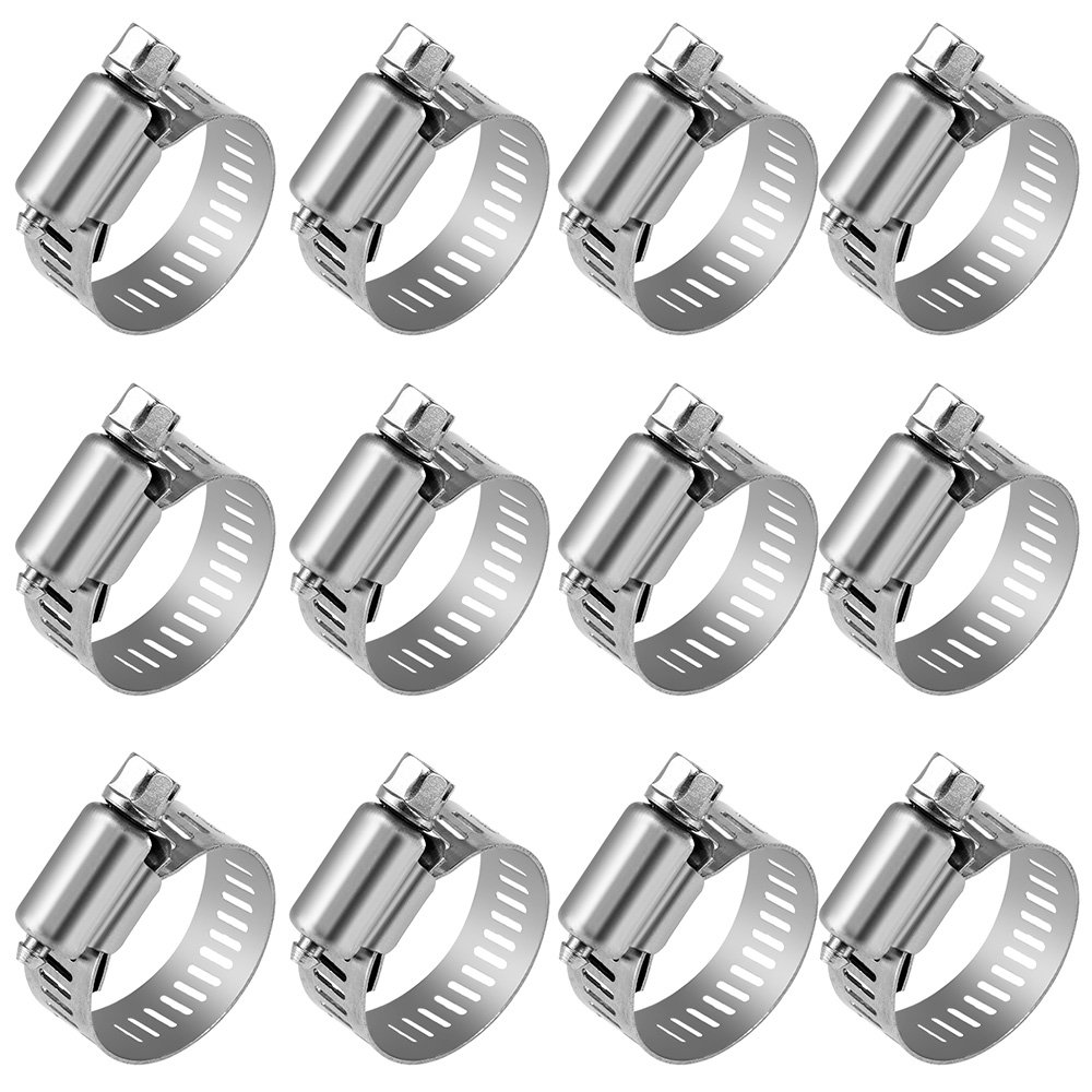 Anpro Pack of 12 Hose Clamp Stainless Steel Clamps Worm-Gear Hose Clamp, Miniature Power-Seal Worm-Drive Kit, 1/2-1-1/16(14-27mm)