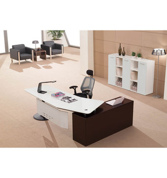 L Shape White High Gloss Office Desk With Long Side Cabinet