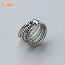 Sland jewelry twist rope&hoop multi winding thai ring set wide 925 sterling silver ring band for men finger