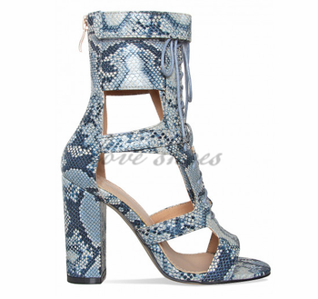 48415a83191 Fancy Girls High Heels Shoes Fashion Ladies Blue Snake Lace Up Ankle ...
