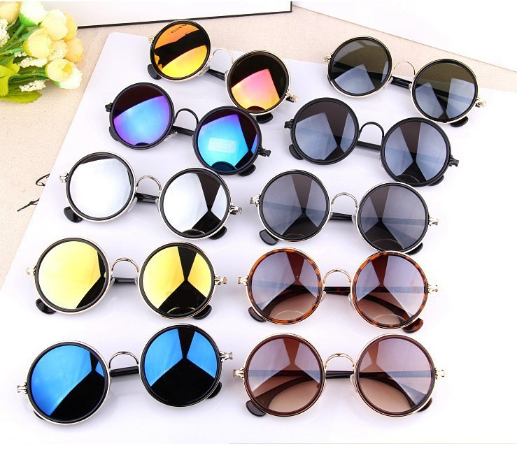 c0f9b9115467 New 2017 Colorful Vintage Sunglasses Women Round Sun Glasses Coating  Sunglass Shades Steampunk Oculos De Sol