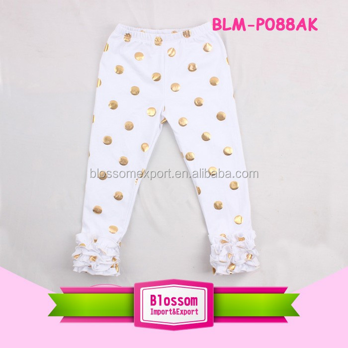 Hot sale boutique girls clothing baby icing ruffle leggings Wholesale Cotton Icing Pants
