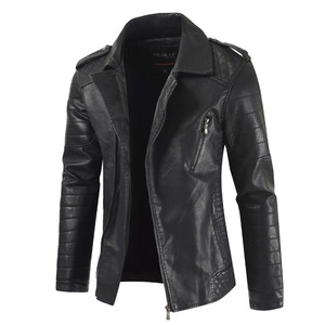 wholesale latest design mans Winter jacke zipper pu thickening Keep warm original motorcycle lea pakistan leather jacket