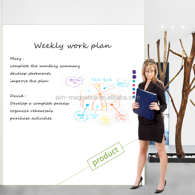 Self adhesive no frame white board magnetic dry erase whiteboard