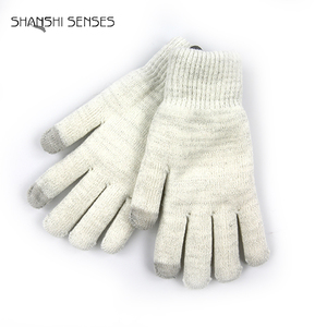 Ladies Solid Lurex Knit White Gloves with Fashion Design