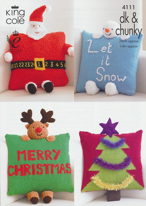 King Cole DK & Chunky Christmas Cushion Knitting Pattern Santa Rudolph Snowman Christmas Tree by King Cole - King Cole Patterns