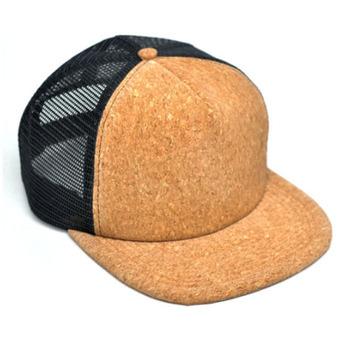 3a669144de8868 New style cork hat 5 panel trucker hat flat bill mesh baseball cap cork  brim blank