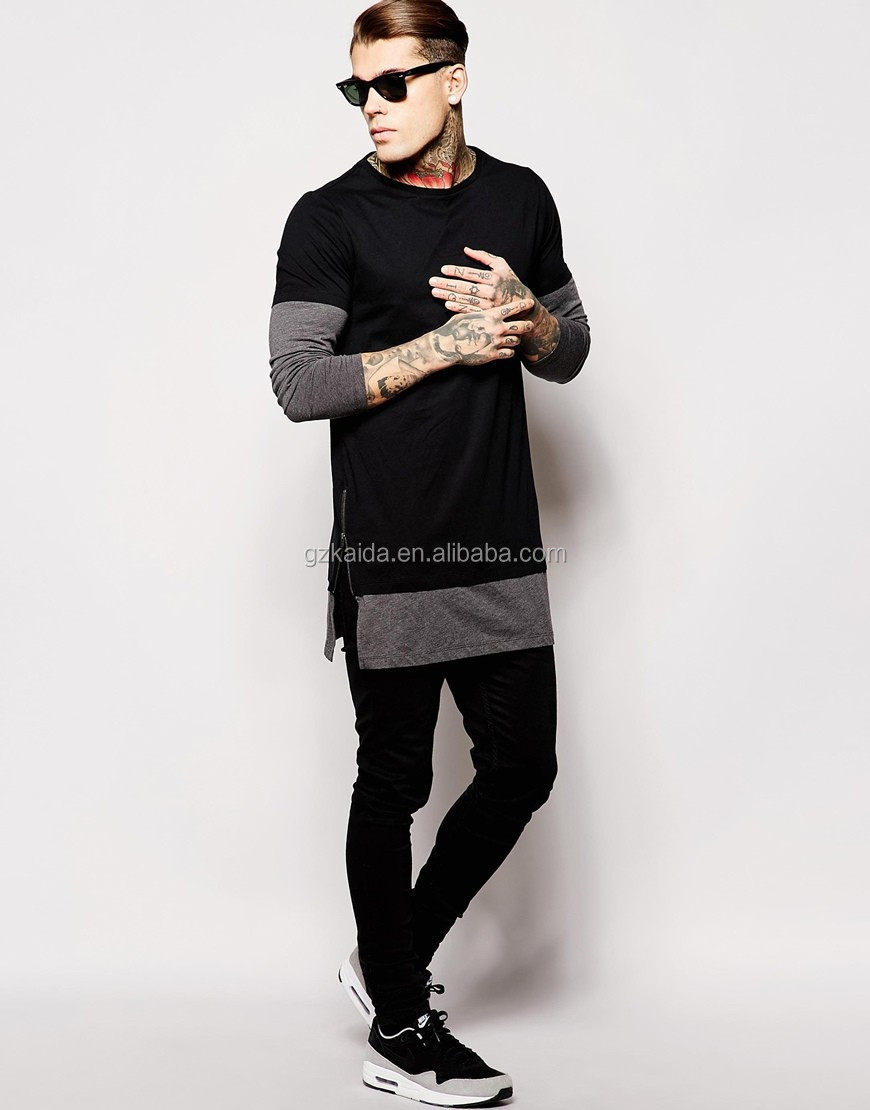 885e969117a4 Hot new 2017 Fashion two-color extra long sleeve Black T-Shirt With Turtle  Neck And Split zipper Hem Men T SHIRTS