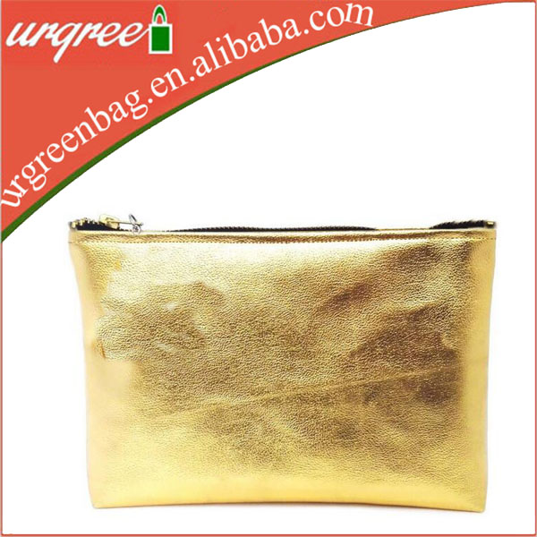 Coin Purse Holder Case, Golden makeup pencil pen zipper pouch bag