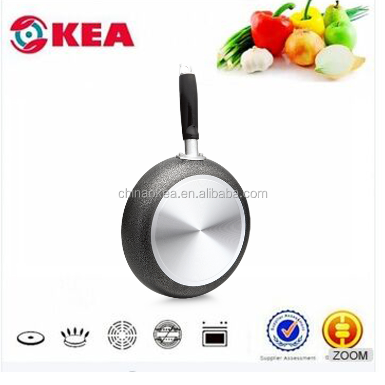 Aluminum pressed food pan classic power coating non stick frying pan with spiral bottom