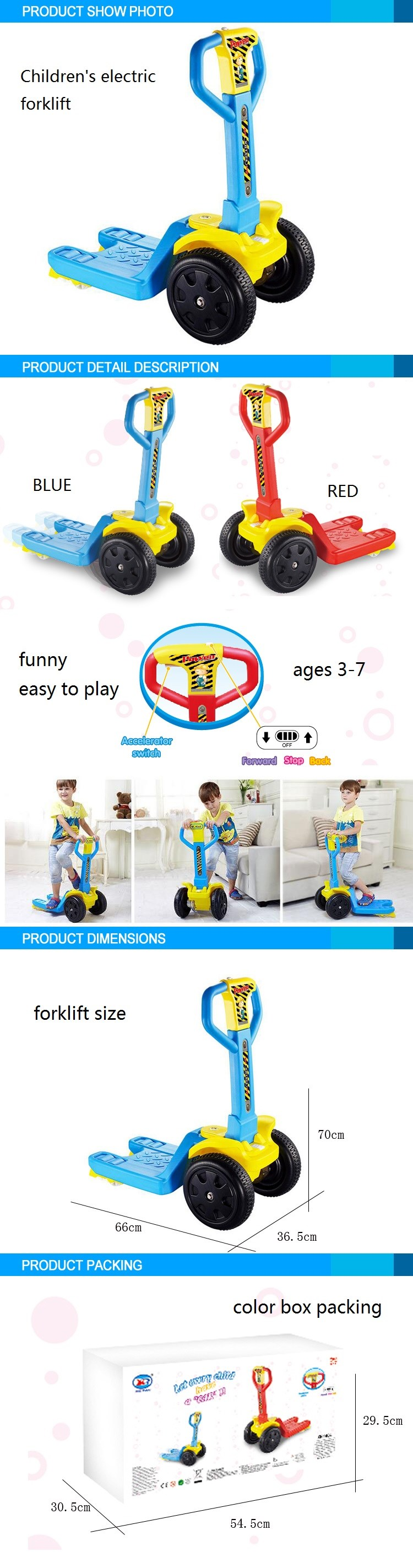 Funny Series high quality bicycle 2016 Children electric forklift for kids