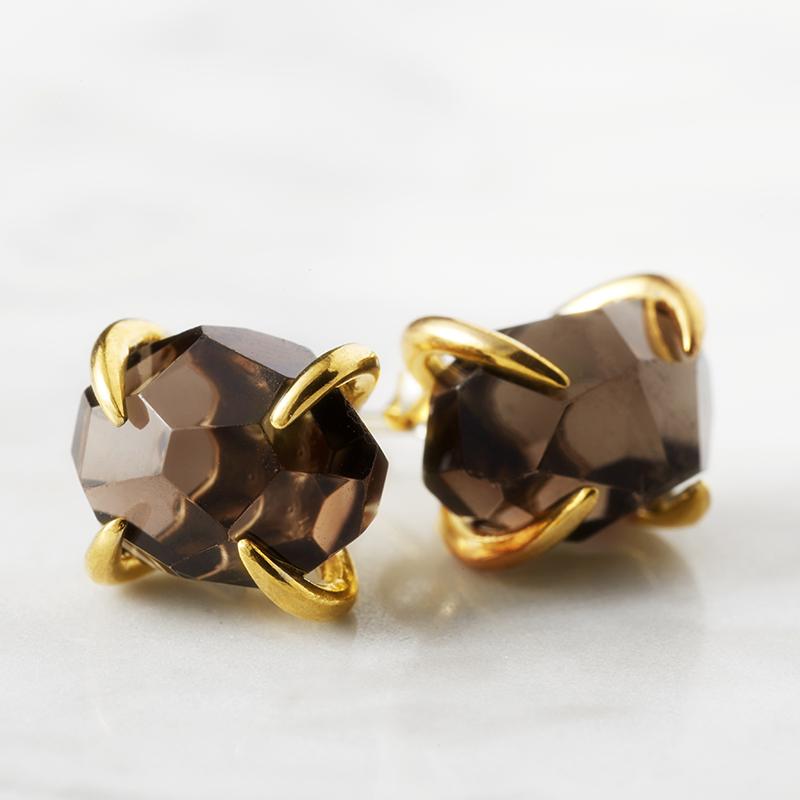 24k Gold Plated Pink Brown Crystal Stud Earrings Rock Brand Gem Natural Stone Women Luxury Brincos Santoro Gorjuss