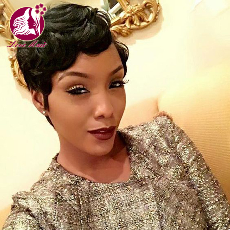 Left part indian virgin human hair pixie cut short full lace wig with comb and straps фото