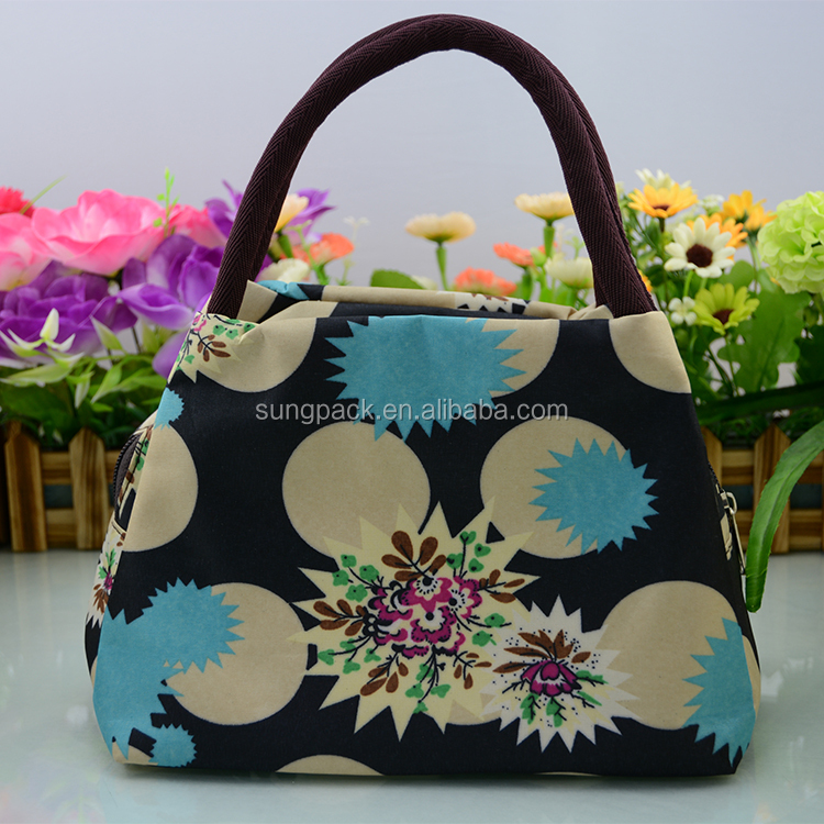 Wholesale Denim Oxford Cloth Lady Handbag Nice Printing Flower Handbag Lunch Bag Tote Bag