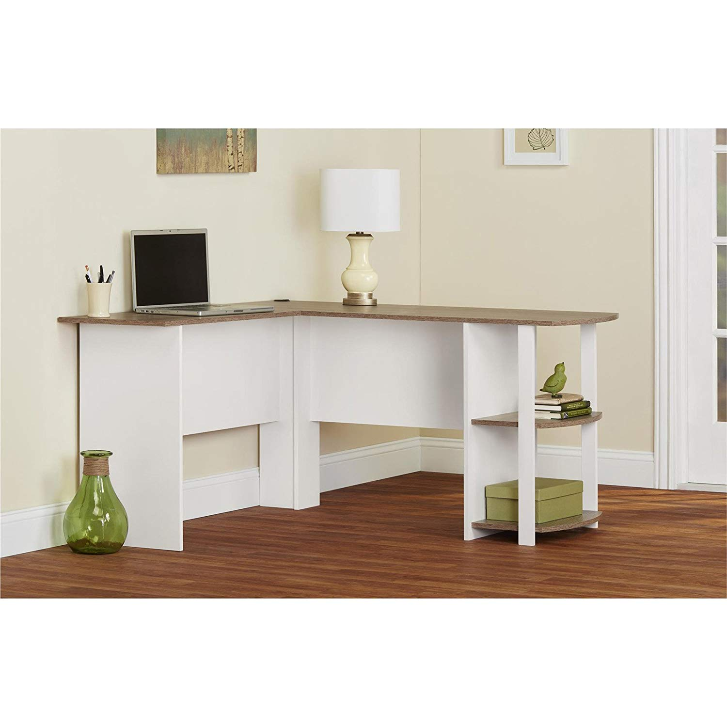 White/Sonoma Oak L-Shaped Desk with Side Storage, 2 Open Bookshelves, Made from Laminated MDF and Particleboard, Office, Home Furniture, Bundle with Our Expert Guide with Tips for Home Arrangement