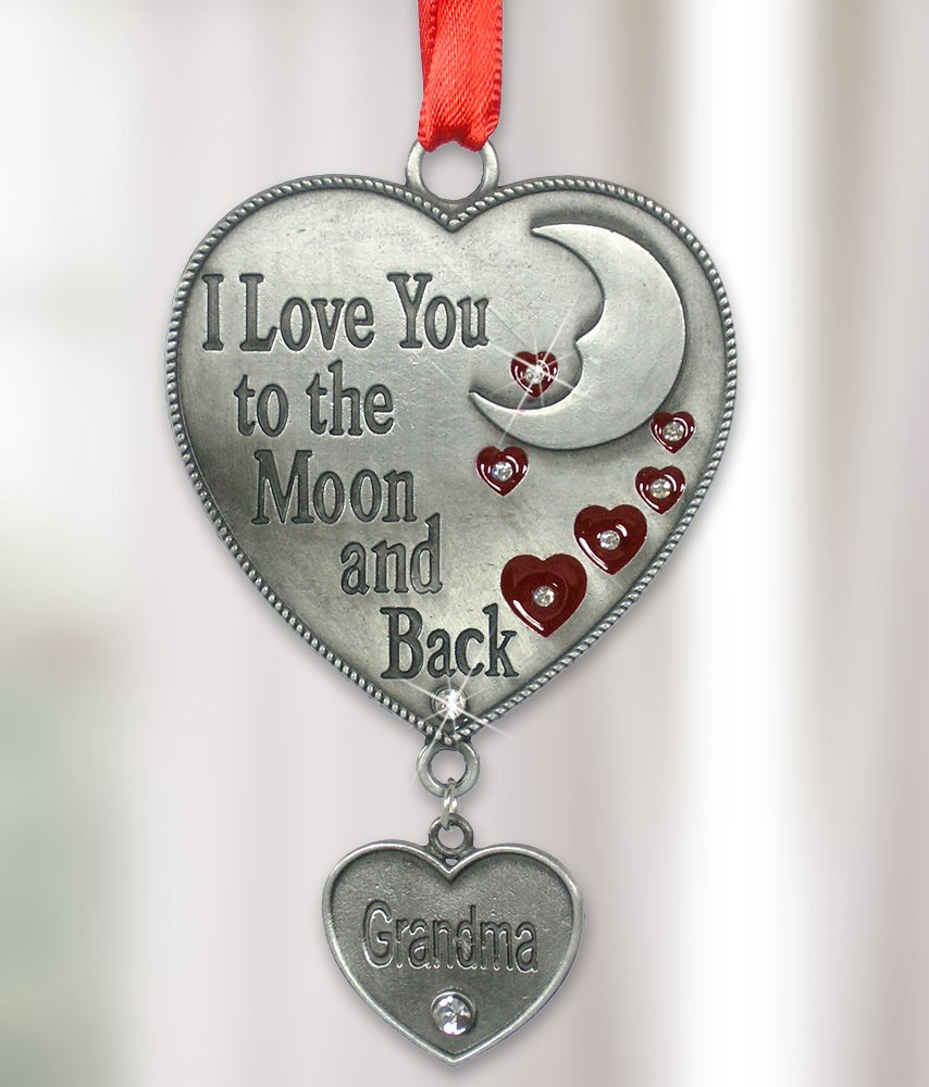 Grandma Ornament - I Love You to the Moon and Back Grandma - Heart Shaped Ornament Enameled & Jeweled Accents with Hanging Heart Charm