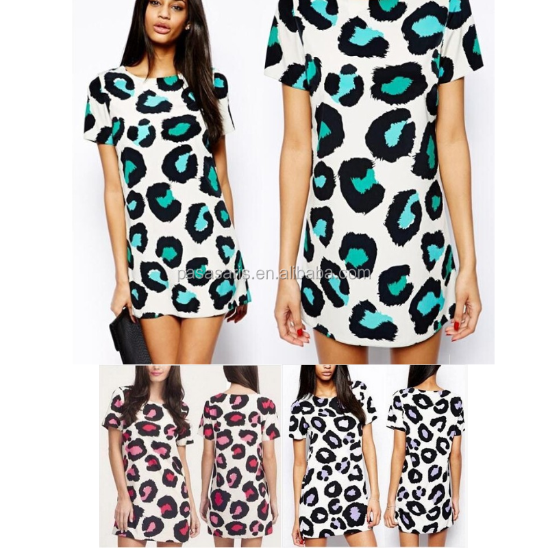 AL2406W Leopard print mini a-line lady dress woman clothes women fashion dress