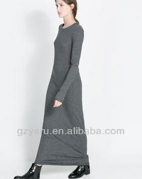 2013 casual cotton spandex long sleeve maxi dress