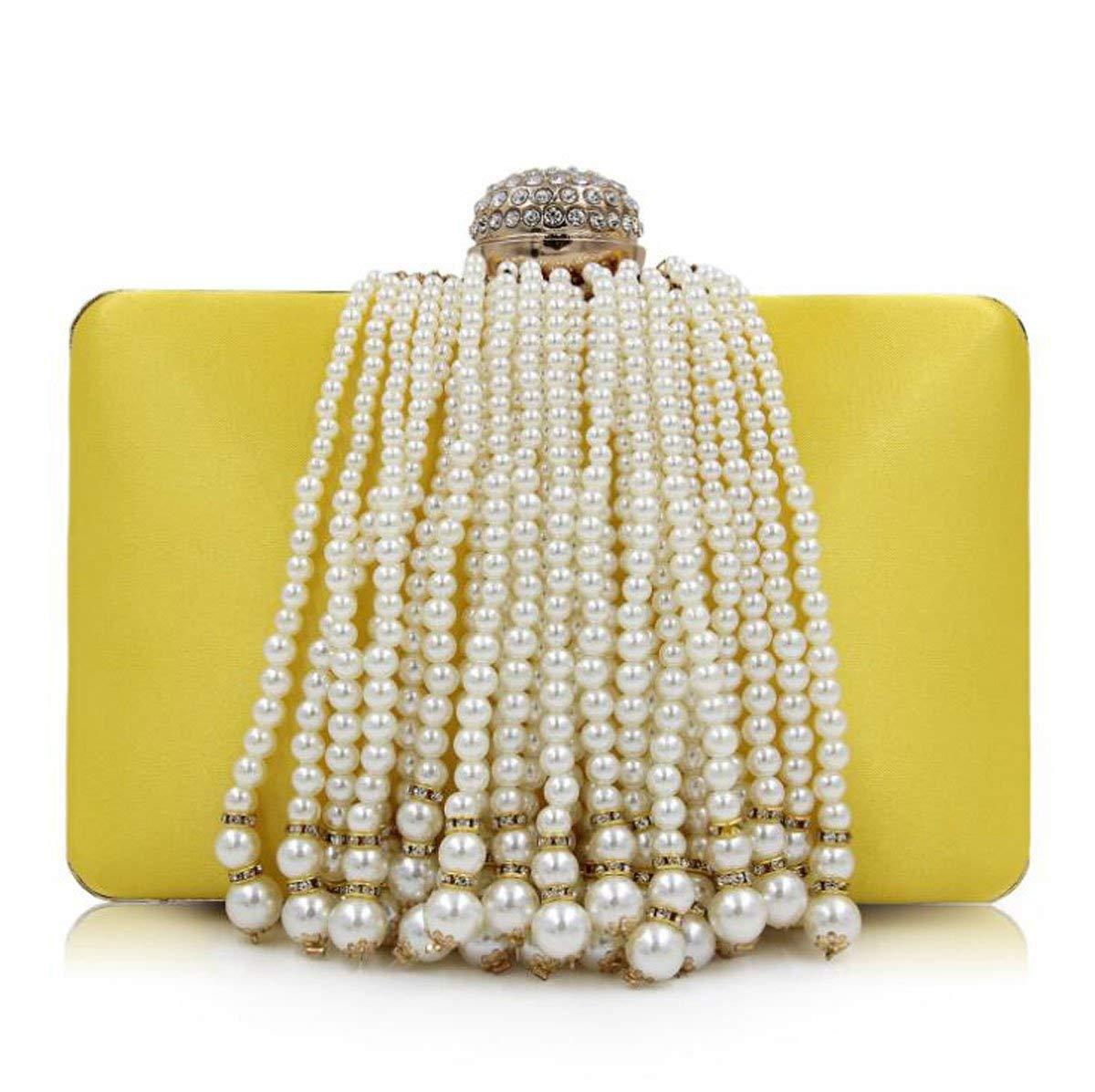 Get Quotations · Women Pearl Clutches Beaded Tassel Evening Bag Satin Clutch  Purse Handbag Cross-Body Bags Totes 3d8d647b8c69