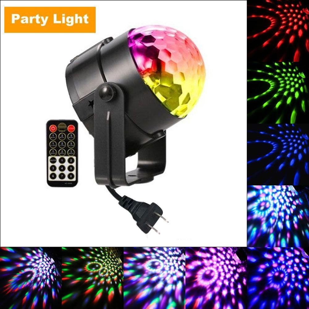 Party Lights Disco Ball, Leegoal 7 Colors Sound Activated Stage Light with Remote Control for Festival/Bar/Club/Party/Wedding/Home Show