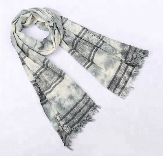 Cotton Polyester Stripe Hand Tie Dyed Fall Scarf with Fringe