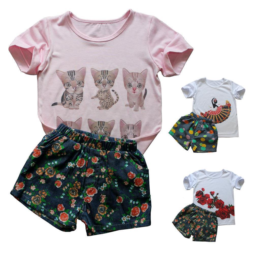 New Girls Clothing Set Brand Kids Clothes Cotton Baby Girl Clothes Sport Suit Cartoon Print  T-Shirt + Shorts Children Clothing