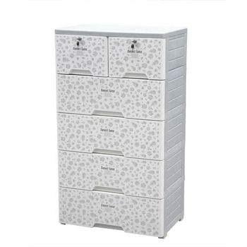 5 Layers With Wheels Plastic Drawer Storage Cabinet
