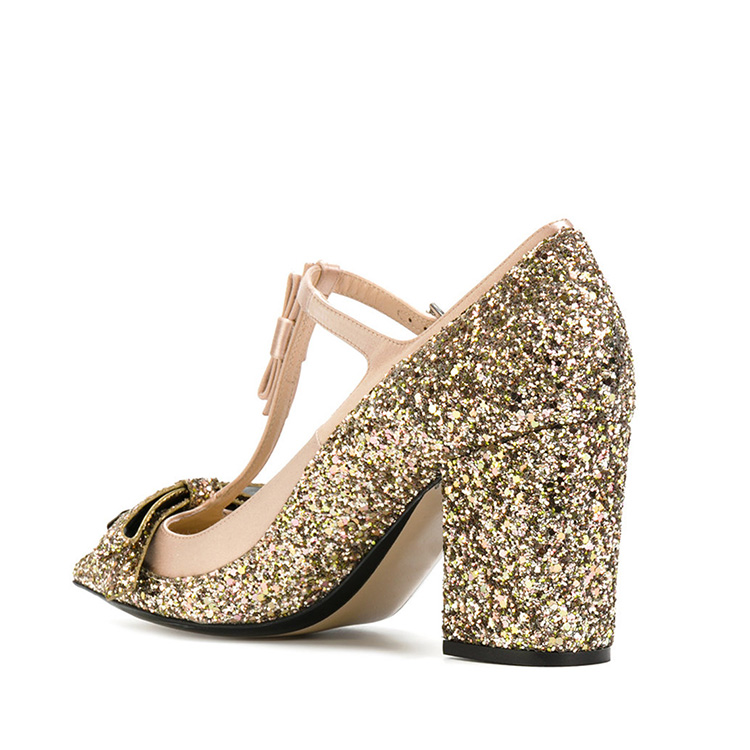 sparkle luxury With heels ankle lady high gold strap dress pointed shoes toe design gUCOqTw