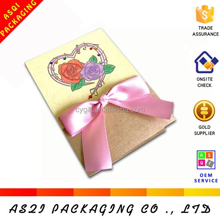 custom wholesale handmade high grade fancy paper weding card with knots
