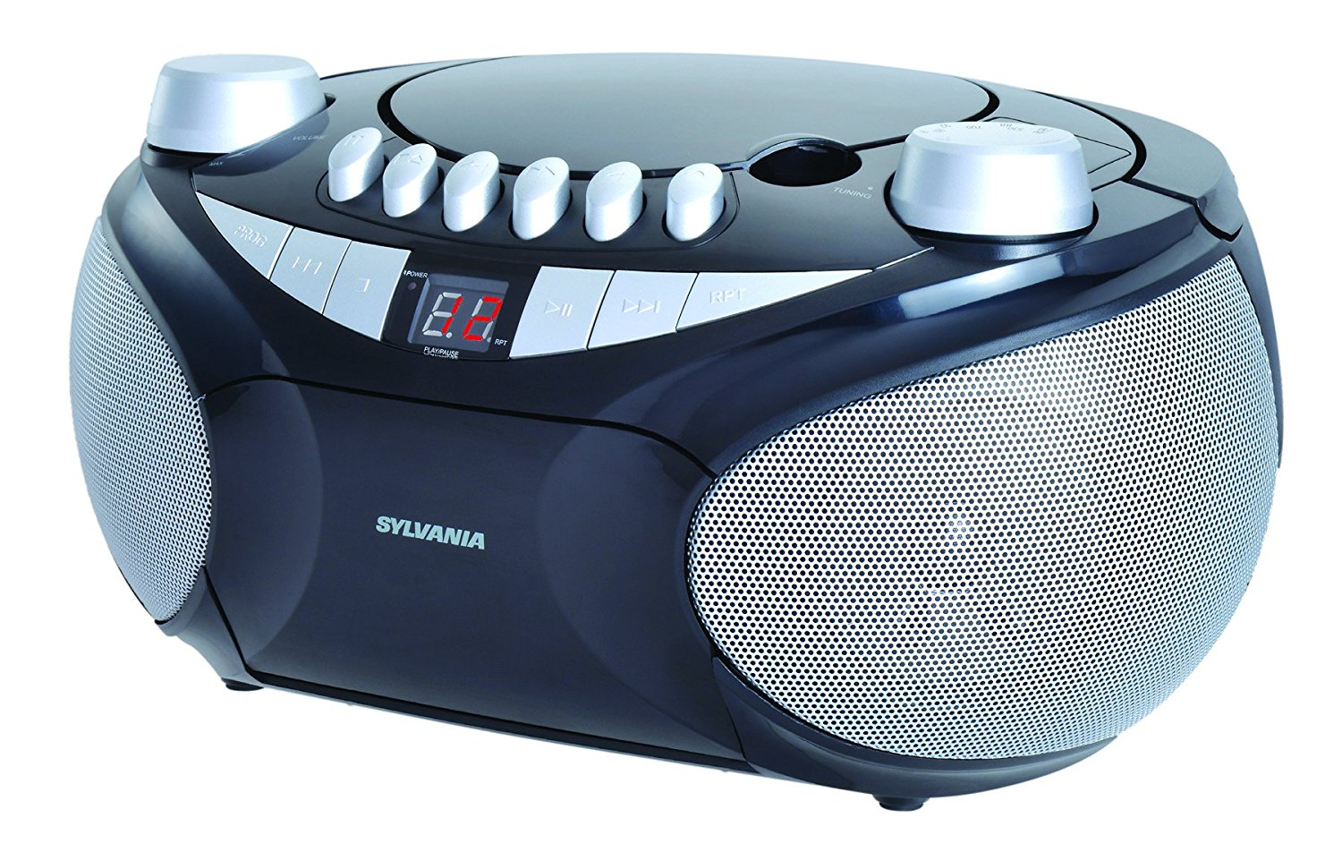 Sylvania Portable Cassette, CD, AM/FM Radio Boombox, with Cassette Player (SRCD286)