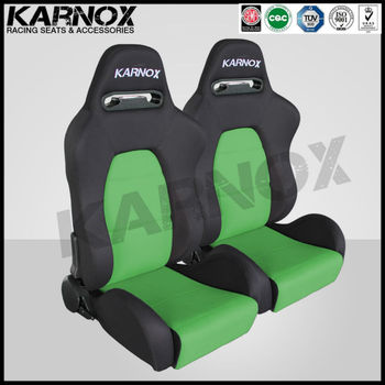 Fabric Seats Jdm Style Sport Racing Fixed Car Black And Green Pair