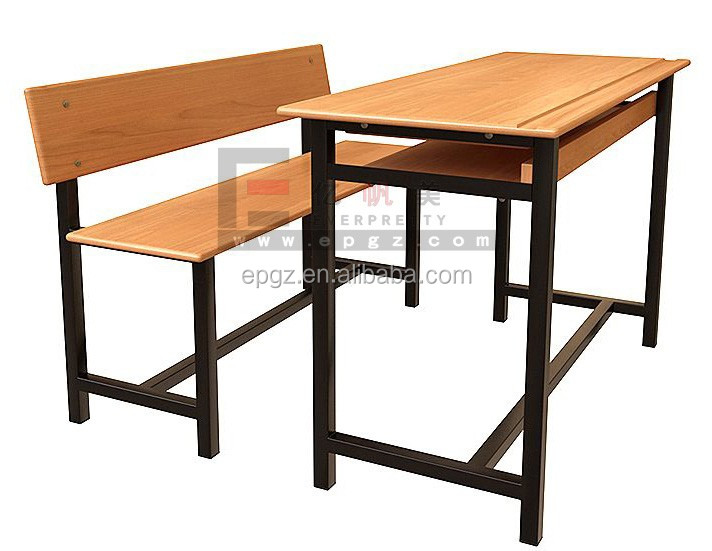 New Design Wooden School Classrom Student Double Desk And Bench ...