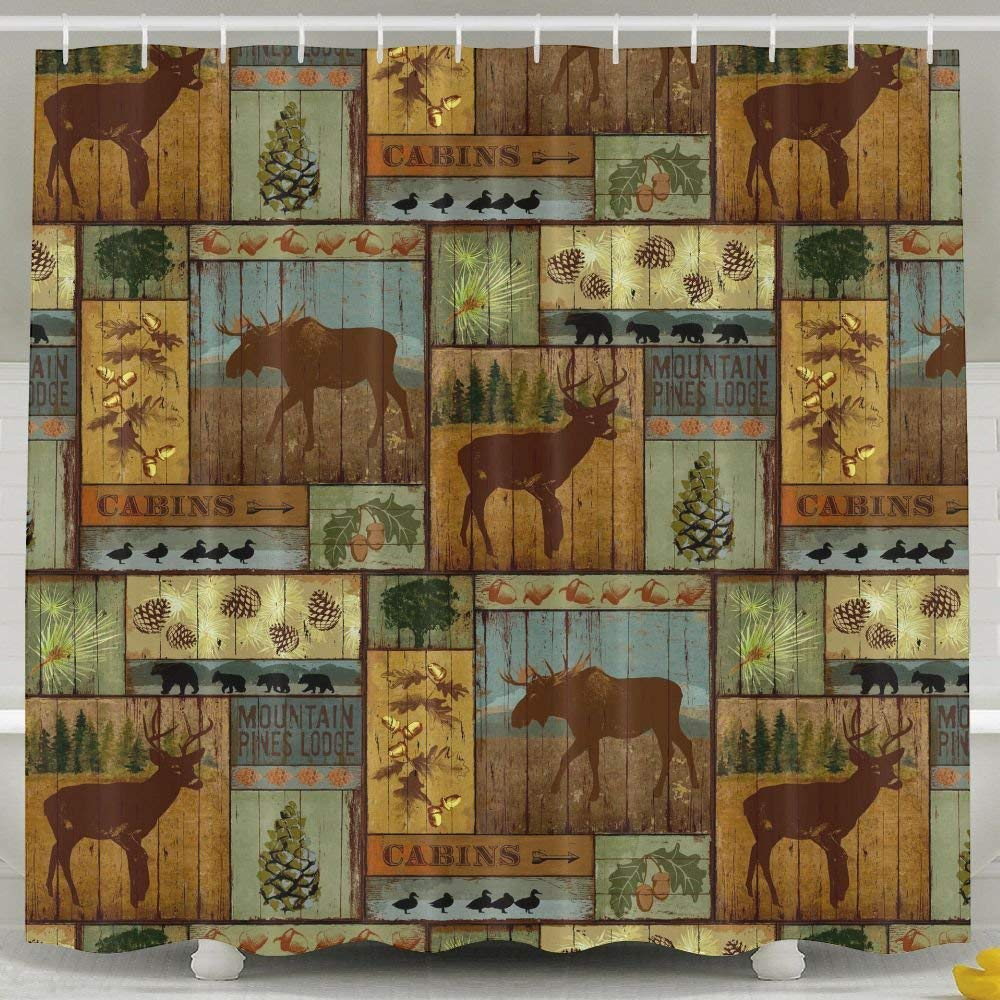 ZHYPMNU 60 X 72 Inch Shower Curtain,Rustic Cabins Moose Deer Polyester Waterproof Bath Curtain,Fabric Mildew Resistant Bathroom Decoration With Hooks