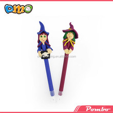 Wholesale ! Witch shape colorful polymer clay pen educational pen